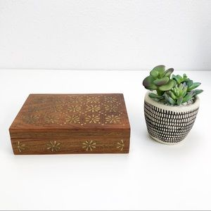 Vintage Wooden Box With Decorative Brass Inlay